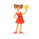 Happy school girl in red dress holding winner cup, kid celebrating her victory cartoon vector Illustration Stock Photos