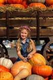 Happy school girl sitting between pumpkins at local farmer market in sunny autumn day. Happy school girl sitting between pumpkins at local farmer market in royalty free stock image