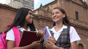Happy School Girls Holding Textbooks. Two Happy School Girls Holding Textbooks Stock Photos