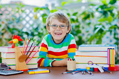 Happy school kid boy with glasses and student stuff Royalty Free Stock Photography
