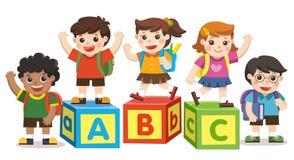 Happy school kids with alphabet blocks. Back to School. Happy school kids with alphabet blocks Vector Illustration
