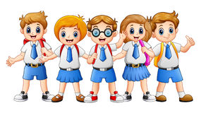 Happy school kids cartoon Stock Photos