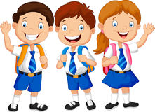 Happy school kids cartoon waving hand stock illustration