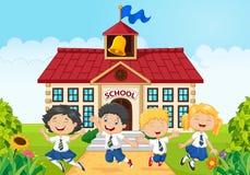 Happy school kids in front of school bilding royalty free illustration