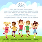 Happy school kids, fun friends jumping and playing togeter outdoors. Summer holiday vector background. Boy and girl people smile and friendship active Stock Photo