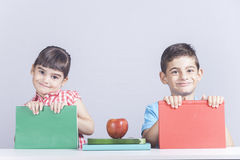 Happy school kids smiling. Happy little school kids smiling Stock Photography