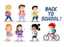 Happy school kids on white background, vector illustration Stock Photos