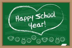 Happy school year. Chalk drawn heart. Inscription on the green blackboard. Vector illustration royalty free illustration