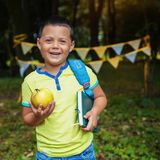 Happy schoolboy with a backpack and book. Square. The concept is royalty free stock photography