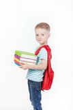 Happy schoolboy with backpack and books isolated on white background Royalty Free Stock Images