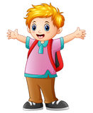 Happy schoolboy cartoon Royalty Free Stock Images