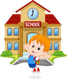 Happy schoolboy cartoon Stock Images