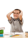 Happy schoolboy doing his homework Royalty Free Stock Photos