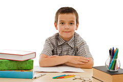 Happy schoolboy staying calm Royalty Free Stock Images