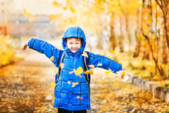 Happy schoolboy throws the autumn leaves in the air. Instagram filter. Royalty Free Stock Images