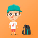 Happy schoolboy. Vector cartoon illustration. Isolated background Stock Images