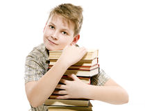 Happy schoolchildren with books Stock Images