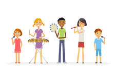 Happy schoolchildren playing music - cartoon people characters isolated illustration. Boys and girls playing xylophone, flute, tambourine and singing. Make a Royalty Free Stock Images
