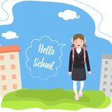Happy schoolgirl with backpack goes to school. Hello school. Speech bubble. Background with landscape vector illustration
