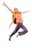 Happy schoolgirl with backpack jumping Royalty Free Stock Photo