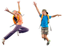 Happy schoolgirl with backpack jumping Royalty Free Stock Images