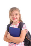 Happy schoolgirl with backpack Royalty Free Stock Image