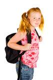 Happy Schoolgirl Ready To Go To School Stock Image
