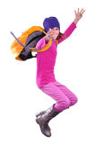 Happy schoolgirl or traveler exercising and jumping Royalty Free Stock Images
