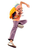 Happy schoolgirl or traveler exercising and jumping Royalty Free Stock Image