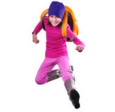 Happy schoolgirl or traveler exercising, running and jumping Royalty Free Stock Images