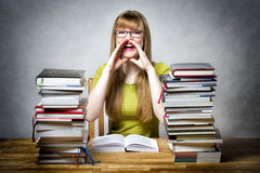 Happy schoolgirl woman with books Stock Images