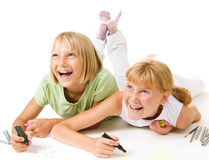 Happy Schoolgirls Drawing Royalty Free Stock Images