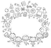 Happy schoolkids with a lot of school things as a frame with a copy space. Black and white outline vector illustration