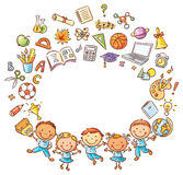 Happy schoolkids with a lot of school things as a frame with a copy space Stock Photography