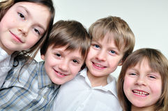 Happy schoolmates girls and boys friends. Group of  happy schoolmates girls and boys friends Royalty Free Stock Photos