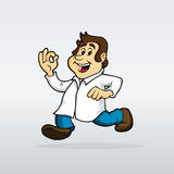 Happy scientist. Running with lab coat Stock Photography