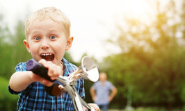 Happy screaming boy portrait Stock Photos