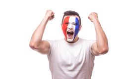 Happy screaming  France football fan of fortune win of the match of France national  team. Stock Image