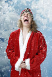 Happy screaming Santa and snowfall Stock Images