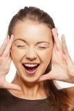 Happy screaming teenage girl Stock Photos