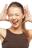 Happy screaming teenage girl. Bright closeup portrait picture of happy screaming teenage girl Stock Photos