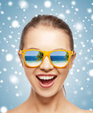 Happy screaming teenage girl in shades. Picture of happy screaming teenage girl in shades Stock Photo