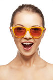 Happy screaming teenage girl in shades Stock Images