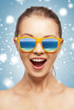 Happy screaming teenage girl in shades Royalty Free Stock Image
