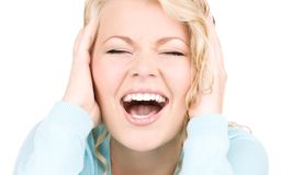 Happy screaming woman Stock Photography