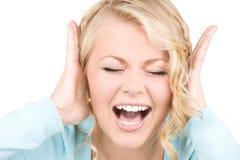 Happy screaming woman Stock Photos