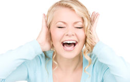 Happy screaming woman Royalty Free Stock Photos