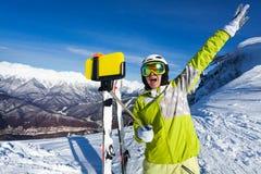 Happy screaming woman taking selfie on mountain Royalty Free Stock Photo
