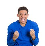 Happy, screaming young student man Stock Images