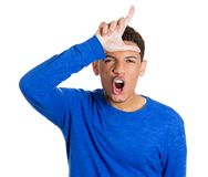 Happy, screaming young student man Stock Photo